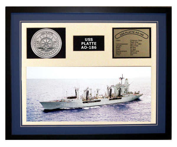 USS Platte  AO 186  - Framed Navy Ship Display Blue