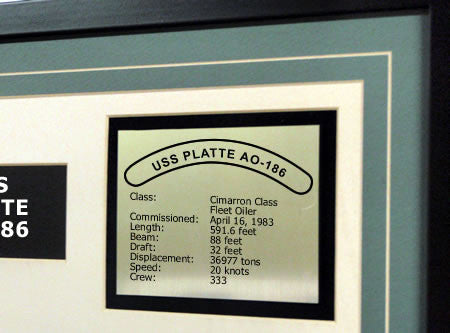 USS Platte AO-186 Framed Navy Ship Display Text Plaque