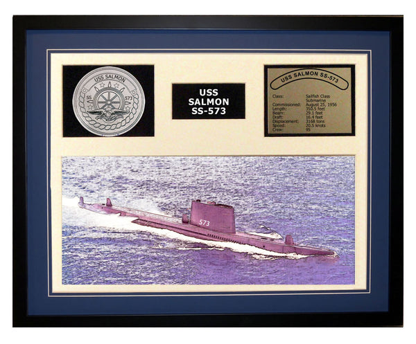 USS Salmon  SS 573  - Framed Navy Ship Display Blue