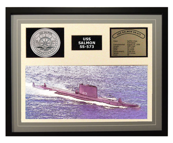 USS Salmon  SS 573  - Framed Navy Ship Display Grey