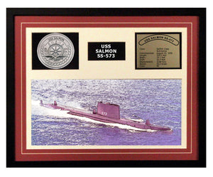 USS Salmon  SS 573  - Framed Navy Ship Display Burgundy