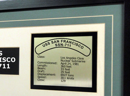 USS San Francisco SSN711 Framed Navy Ship Display Text Plaque
