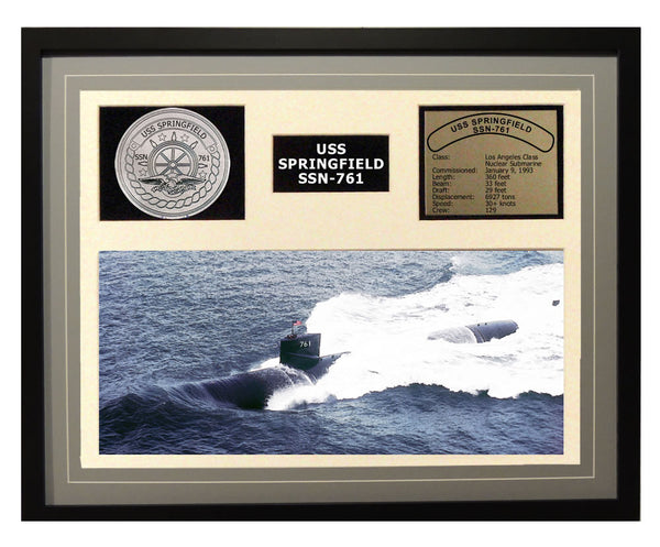 USS Springfield  SSN 761  - Framed Navy Ship Display Grey