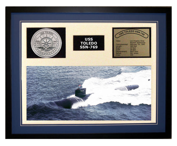 USS Toledo  SSN 769  - Framed Navy Ship Display Blue