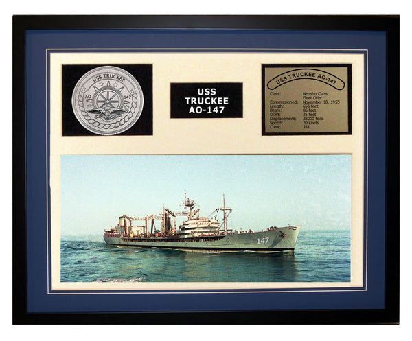 USS Truckee  AO 147  - Framed Navy Ship Display Blue