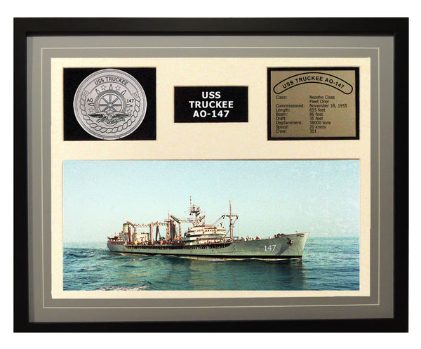 USS Truckee  AO 147  - Framed Navy Ship Display Grey