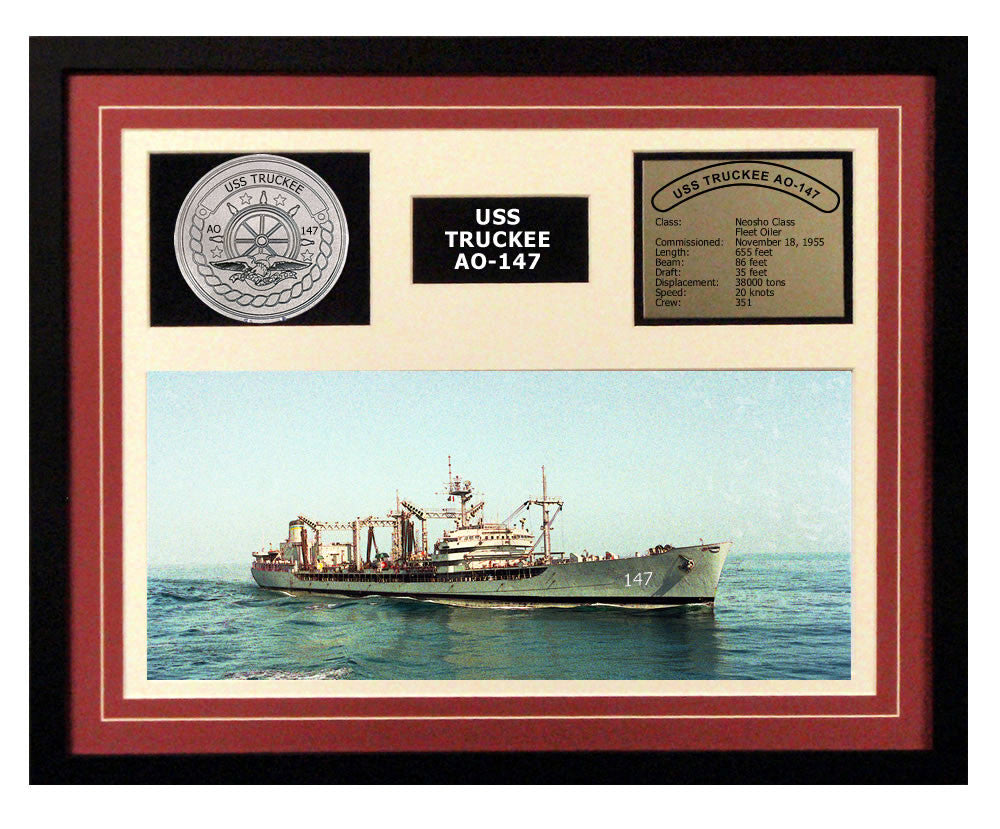 USS Truckee  AO 147  - Framed Navy Ship Display Burgundy