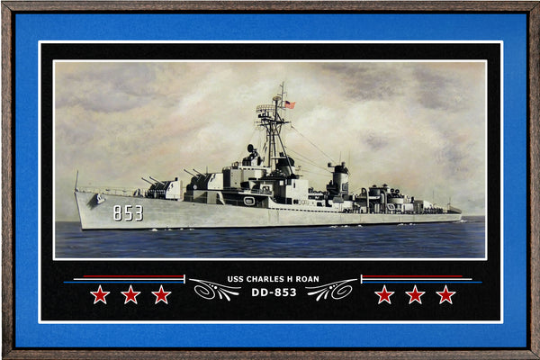 USS CHARLES H ROAN DD 853 BOX FRAMED CANVAS ART BLUE