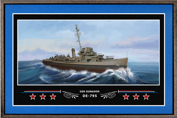 USS GUNASON DE 795 BOX FRAMED CANVAS ART BLUE