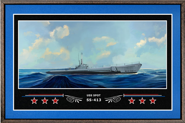 USS SPOT SS 413 BOX FRAMED CANVAS ART BLUE
