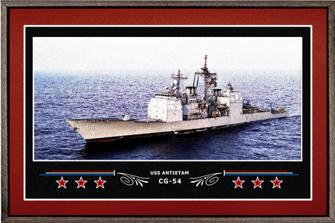 USS ANTIETAM CG 54 BOX FRAMED CANVAS ART BURGUNDY