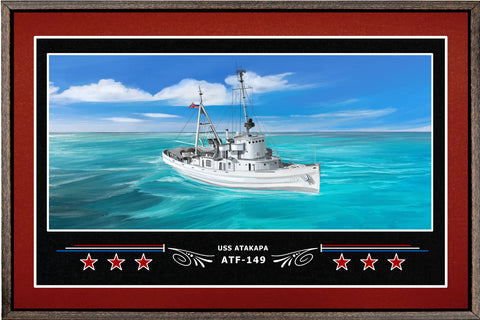 USS ATAKAPA ATF 149 BOX FRAMED CANVAS ART BURGUNDY