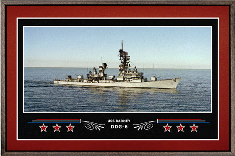 USS BARNEY DDG 6 BOX FRAMED CANVAS ART BURGUNDY
