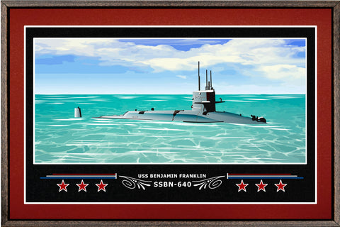 USS BENJAMIN FRANKLIN SSBN 640 BOX FRAMED CANVAS ART BURGUNDY