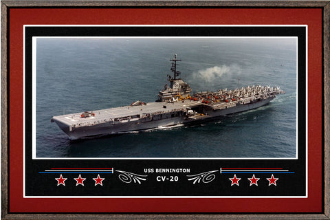 USS BENNINGTON CV 20 BOX FRAMED CANVAS ART BURGUNDY