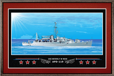 USS BEVERLY W REID APD 119 BOX FRAMED CANVAS ART BURGUNDY