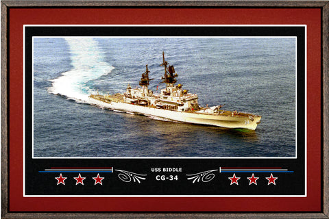USS BIDDLE CG 34 BOX FRAMED CANVAS ART BURGUNDY