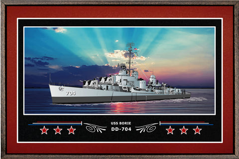 USS BORIE DD 704 BOX FRAMED CANVAS ART BURGUNDY