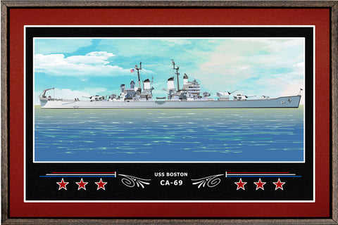 USS BOSTON CA 69 BOX FRAMED CANVAS ART BURGUNDY