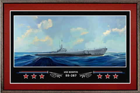 USS BOWFIN SS 287 BOX FRAMED CANVAS ART BURGUNDY