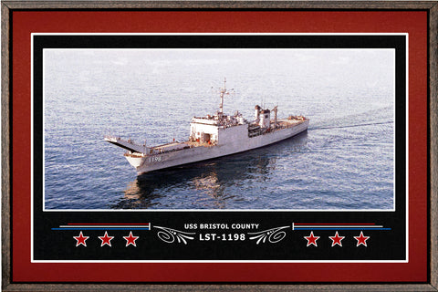 USS BRISTOL COUNTY LST 1198 BOX FRAMED CANVAS ART BURGUNDY