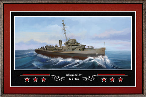 USS BUCKLEY DE 51 BOX FRAMED CANVAS ART BURGUNDY
