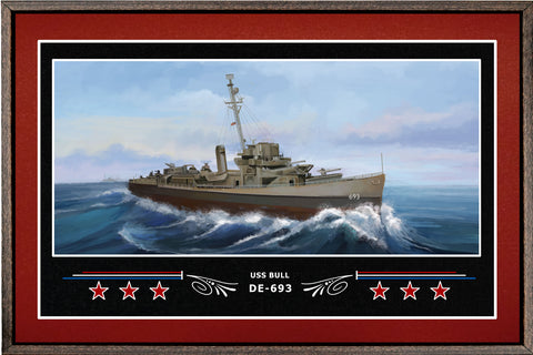 USS BULL DE 693 BOX FRAMED CANVAS ART BURGUNDY