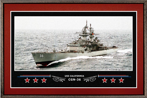 USS CALIFORNIA CGN 36 BOX FRAMED CANVAS ART BURGUNDY