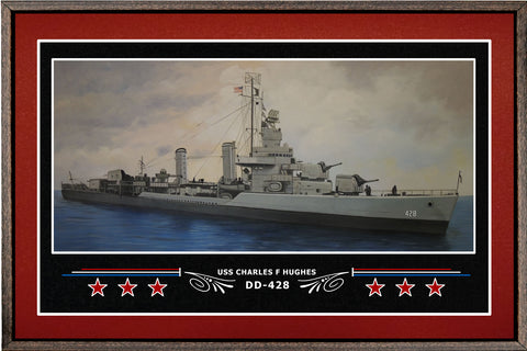 USS CHARLES F HUGHES DD 428 BOX FRAMED CANVAS ART BURGUNDY