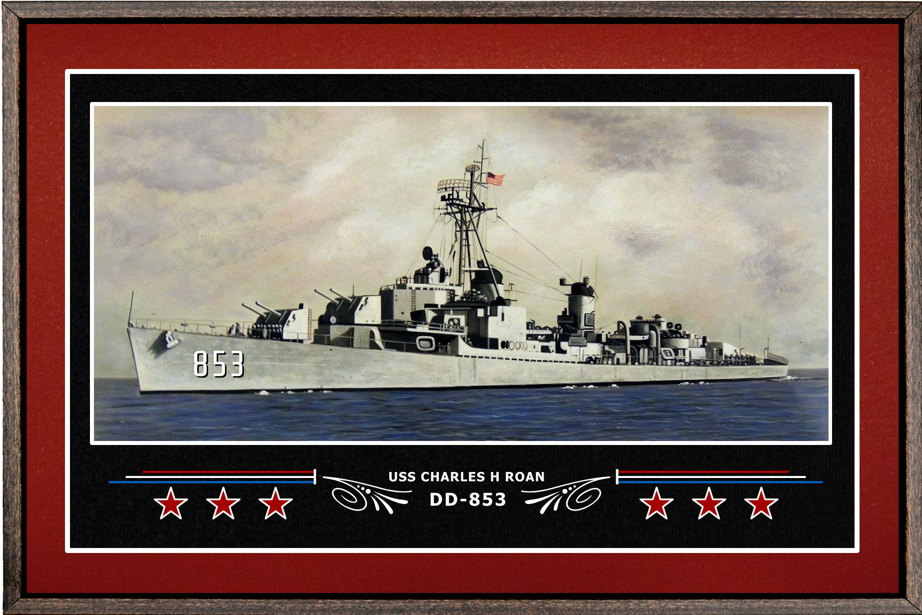 USS CHARLES H ROAN DD 853 BOX FRAMED CANVAS ART BURGUNDY