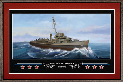 USS CHARLES LAWRENCE DE 53 BOX FRAMED CANVAS ART BURGUNDY