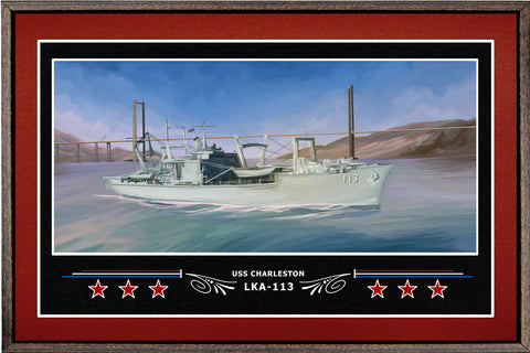 USS CHARLESTON LKA 113 BOX FRAMED CANVAS ART BURGUNDY