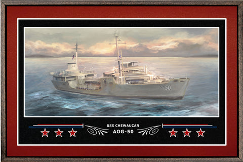 USS CHEWAUCAN AOG 50 BOX FRAMED CANVAS ART BURGUNDY