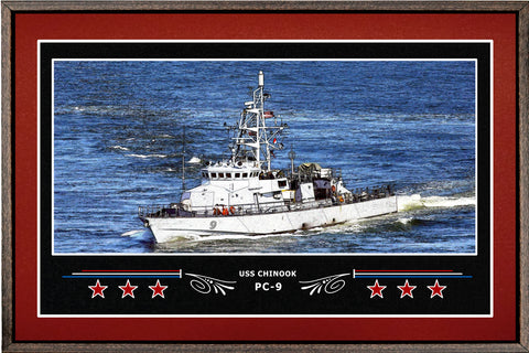 USS CHINOOK PC 9 BOX FRAMED CANVAS ART BURGUNDY