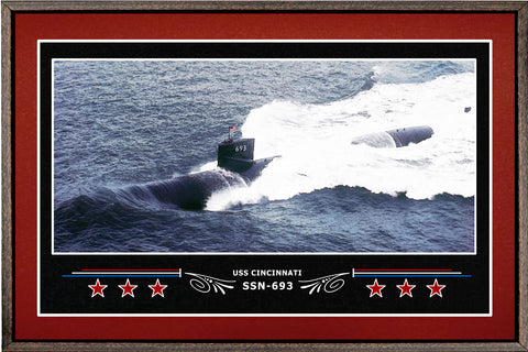 USS CINCINNATI SSN 693 BOX FRAMED CANVAS ART BURGUNDY