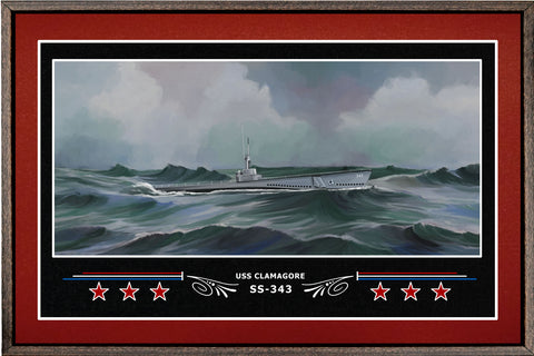 USS CLAMAGORE SS 343 BOX FRAMED CANVAS ART BURGUNDY
