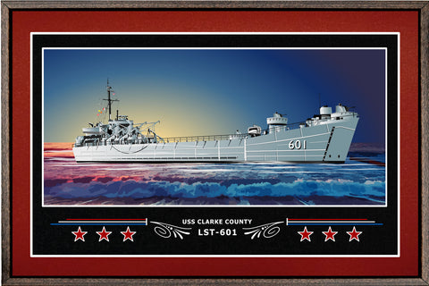 USS CLARKE COUNTY LST 601 BOX FRAMED CANVAS ART BURGUNDY