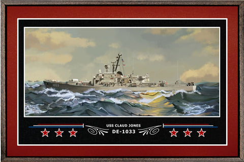USS CLAUD JONES DE 1033 BOX FRAMED CANVAS ART BURGUNDY