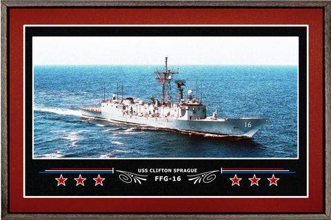 USS CLIFTON SPRAGUE FFG 16 BOX FRAMED CANVAS ART BURGUNDY