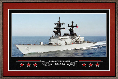 USS COMTE DE GRASSE DD 974 BOX FRAMED CANVAS ART BURGUNDY