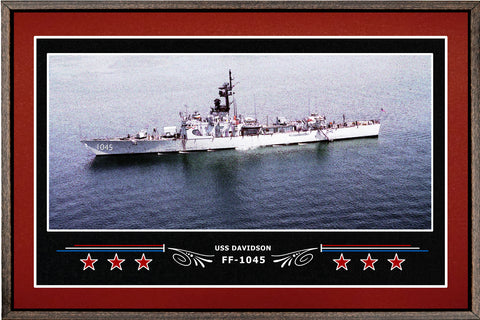 USS DAVIDSON FF 1045 BOX FRAMED CANVAS ART BURGUNDY