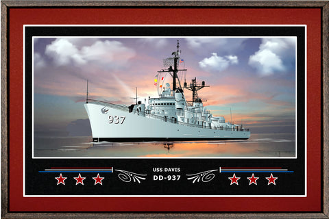 USS DAVIS DD 937 BOX FRAMED CANVAS ART BURGUNDY
