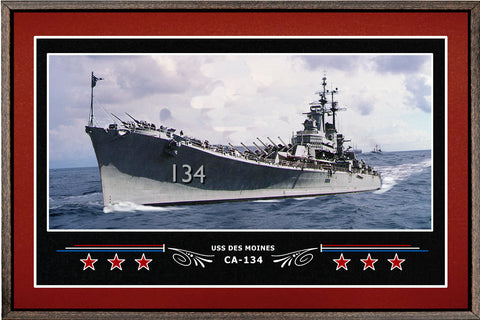 USS DES MOINES CA 134 BOX FRAMED CANVAS ART BURGUNDY