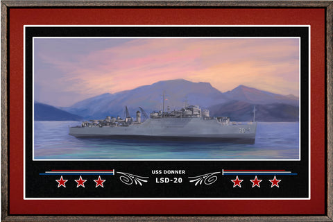 USS DONNER LSD 20 BOX FRAMED CANVAS ART BURGUNDY