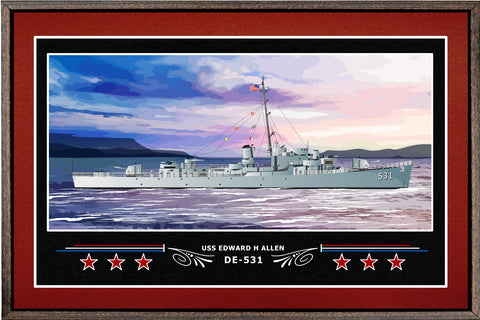 USS EDWARD H ALLEN DE 531 BOX FRAMED CANVAS ART BURGUNDY
