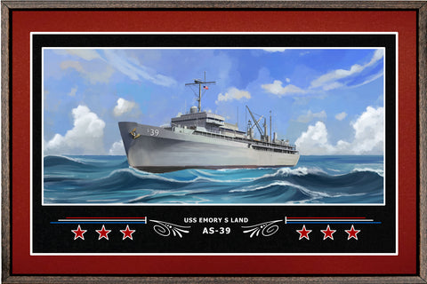USS EMORY S LAND AS 39 BOX FRAMED CANVAS ART BURGUNDY