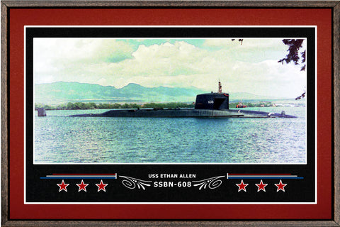 USS ETHAN ALLEN SSBN 608 BOX FRAMED CANVAS ART BURGUNDY
