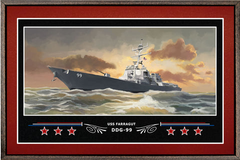 USS FARRAGUT DDG 99 BOX FRAMED CANVAS ART BURGUNDY