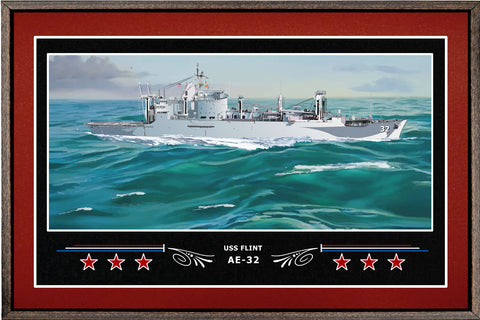 USS FLINT AE 32 BOX FRAMED CANVAS ART BURGUNDY