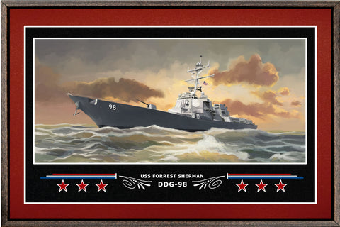 USS FORREST SHERMAN DDG 98 BOX FRAMED CANVAS ART BURGUNDY